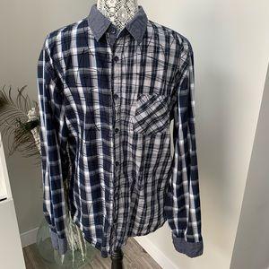 DESIGUAL Mens Plaid Button Down Shirt Blue Size XL